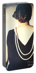 Art Deco Lady In Pearls Portable Battery Charger