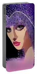 Flapper In Purple Hat Portable Battery Charger by Chuck Staley