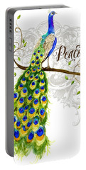Art Nouveau Peacock W Swirl Tree Branch And Scrolls Portable Battery Charger