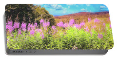 Art Photo Of Vermont Rolling Hills With Pink Flowers In The Foreground Portable Battery Charger