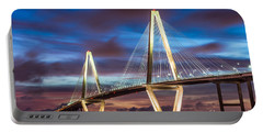 Arthur Ravenel Bridge At Night Portable Battery Charger by Jennifer White