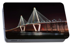 Portable Battery Charger featuring the photograph Arthur Ravenel Jr. Bridge At Midnight by George Randy Bass