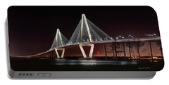 Arthur Ravenel Jr. Bridge At Midnight Portable Battery Charger by George Randy Bass