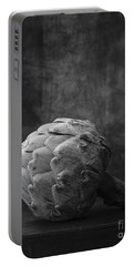 Artichoke Black And White Still Life Portable Battery Charger by Edward Fielding