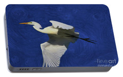 Portable Battery Charger featuring the painting Artistic Egret by Deborah Benoit