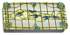 Arts And Crafts Panel Of A Group Of Swallows Before Clouds In A Border Of Flowers Portable Battery Charger