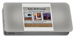 Portable Battery Charger featuring the digital art Arts Mperron Retrospective Design by Mario MJ Perron