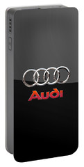 Audi - 3 D Badge On Black Portable Battery Charger by Serge Averbukh