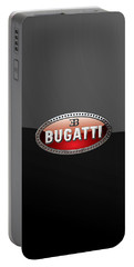 Bugatti - 3d Badge On Black Portable Battery Charger by Serge Averbukh