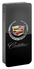 Cadillac - 3d Badge On Black Portable Battery Charger by Serge Averbukh