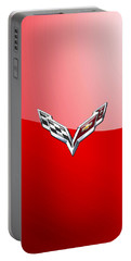 Chevrolet Corvette - 3d Badge On Red Portable Battery Charger by Serge Averbukh