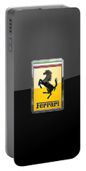 Ferrari - 3 D Badge On Black Portable Battery Charger by Serge Averbukh