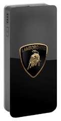 Lamborghini - 3d Badge On Black Portable Battery Charger by Serge Averbukh