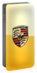 Porsche - 3d Badge On Yellow Portable Battery Charger by Serge Averbukh