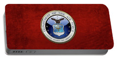 U. S.  Air Force  -  U S A F Emblem Over Red Velvet Portable Battery Charger