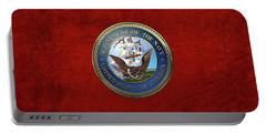 U. S.  Navy  -  U S N Emblem Over Red Velvet Portable Battery Charger