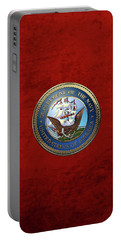 U. S.  Navy  -  U S N Emblem Over Red Velvet Portable Battery Charger by Serge Averbukh