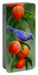 Bird Painting - Bluebirds And Peaches Portable Battery Charger