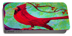 Portable Battery Charger featuring the painting Festive Cardinal by Eloise Schneider