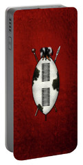 Zulu War Shield With Spear And Club On Red Velvet  Portable Battery Charger
