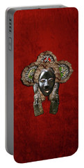 Dan Dean-gle Mask Of The Ivory Coast And Liberia On Red Velvet Portable Battery Charger