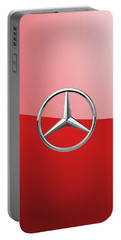 Mercedes-benz - 3d Badge On Red Portable Battery Charger by Serge Averbukh