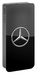 Mercedes-benz - 3d Badge On Black Portable Battery Charger by Serge Averbukh