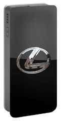 Lexus - 3d Badge On Black Portable Battery Charger by Serge Averbukh