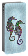 Portable Battery Charger featuring the drawing Electric Seahorses by Tammy Wetzel