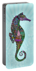 Portable Battery Charger featuring the drawing Electric Lady Seahorse  by Tammy Wetzel
