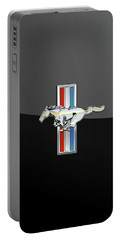 Ford Mustang - Tri Bar And Pony 3 D Badge On Black Portable Battery Charger by Serge Averbukh