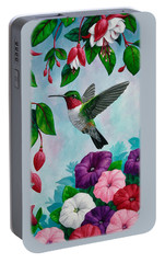 Hummingbird Greeting Card 1 Portable Battery Charger by Crista Forest