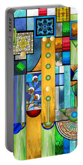 Art Deco Stained Glass 1 Portable Battery Charger by Ellen Henneke