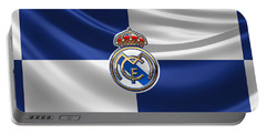 Real Madrid C F - 3 D Badge Over Flag Portable Battery Charger by Serge Averbukh