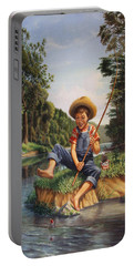 Boy Fishing In River Landscape - Childhood Memories - Flashback - Folkart - Nostalgic - Walt Curlee Portable Battery Charger