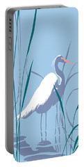 abstract Egret graphic pop art nouveau 1980s stylized retro tropical florida bird print blue gray  Portable Battery Charger