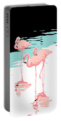 Pink Flamingos Tropical 1980s Abstract Pop Art Nouveau Graphic Art Retro Stylized Florida Print Portable Battery Charger