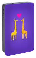 Cute Cartoon Giraffe Couple In Love Purple Edition Portable Battery Charger by Philipp Rietz