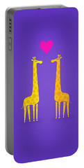 Cute Cartoon Giraffe Couple In Love Purple Edition Portable Battery Charger
