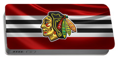 Chicago Blackhawks - 3 D Badge Over Silk Flag Portable Battery Charger by Serge Averbukh