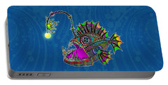 Portable Battery Charger featuring the drawing Electric Angler Fish by Tammy Wetzel