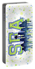 Seattle Watercolor 12th Man Art Painting Space Needle Go Seahawks Portable Battery Charger by Olga Shvartsur