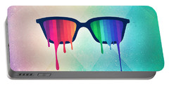 Love Wins Rainbow - Spectrum Pride Hipster Nerd Glasses Portable Battery Charger