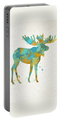 Moose Watercolor Art Portable Battery Charger