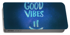 Good Vibes  Funny Smiley Statement Happy Face Blue Stars Edit Portable Battery Charger