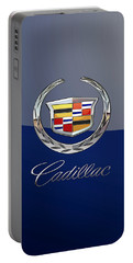 Cadillac 3 D  Badge Special Edition On Blue Portable Battery Charger