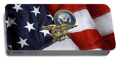 U. S. Navy S E A Ls Trident Over American Flag  Portable Battery Charger