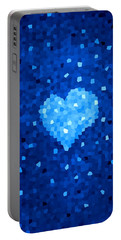 Winter Blue Crystal Heart Portable Battery Charger