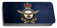 Royal Australian Air Force -  R A A F  Badge Over Blue Velvet Portable Battery Charger