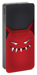 Red Evil Monster With Pointy Ears Portable Battery Charger